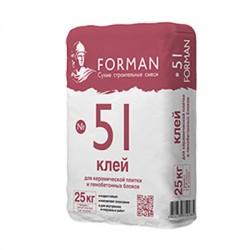 Клей Forman 51 для керамической плитки и пенобетонных блоков 25 кг