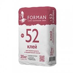 Клей Forman 52 для керамогранита для внутренних и наружных работ 25 кг