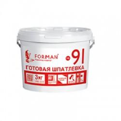 Готовая шпатлевка Forman91 для внутренних работ в полипропиленовых ведрах 3 кг