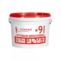 Готовая шпатлевка Forman91 для внутренних работ в полипропиленовых ведрах 18 кг
