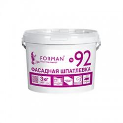 Готовая шпатлевка Forman92 для фасадных работ в полипропиленовых ведрах 3 кг